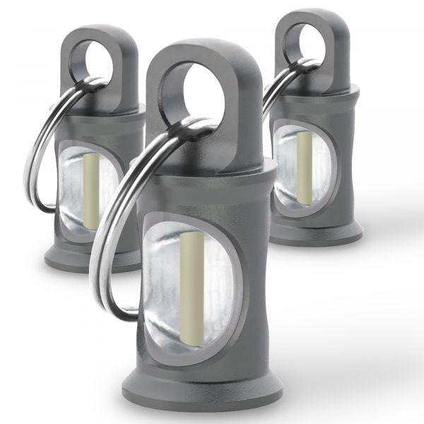 Set 3 demarcatori con anello portachiavi Trigatag KHS grigio
