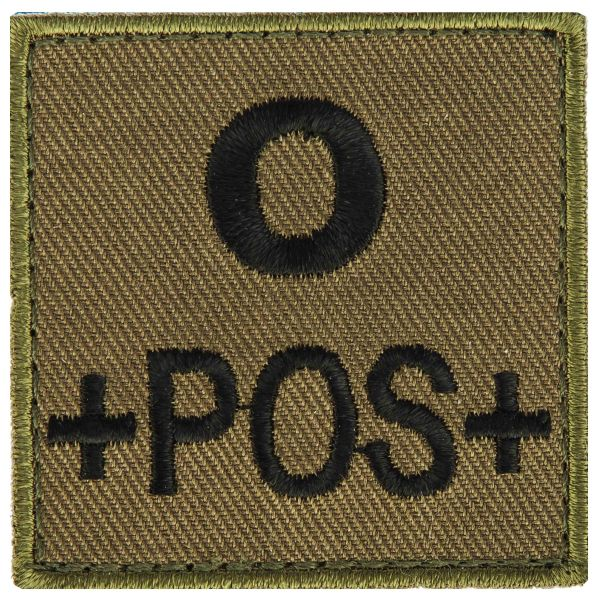 Patch gruppo sanguigno 0 positivo in tessuto T.O.E verde