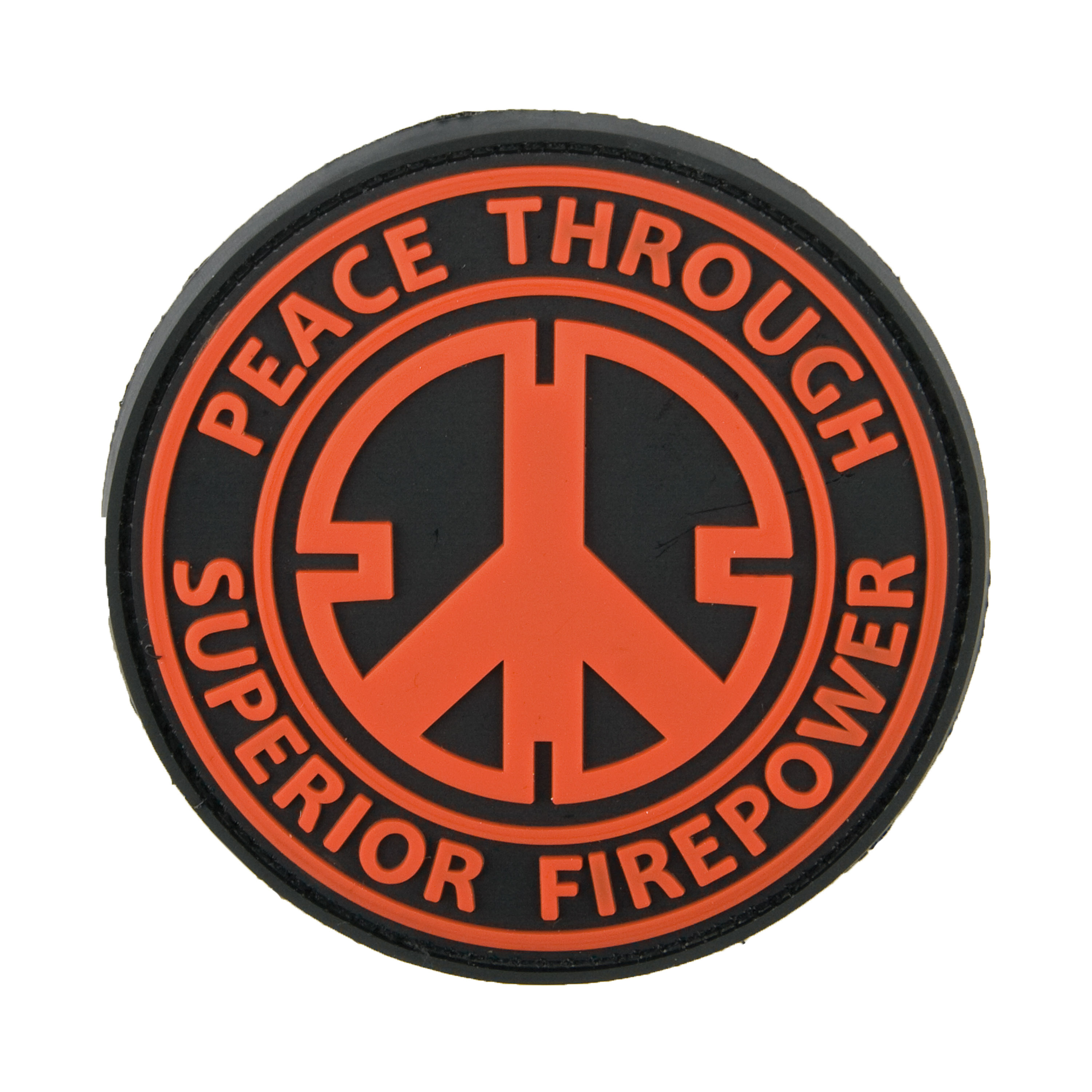 Patch in gomma 3D Peace Through Superior Firepower rosso