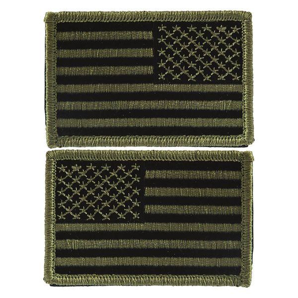 Patch bandiera degli Stati Uniti con velcro oliva