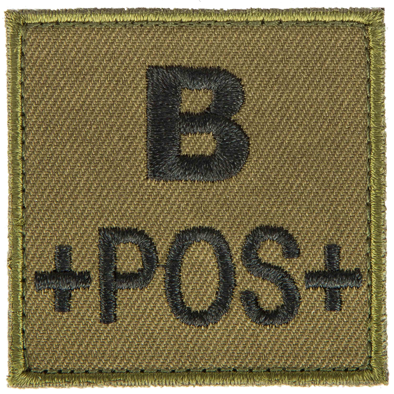 Patch gruppo sanguigno B positivo in tessuto T.O.E verde