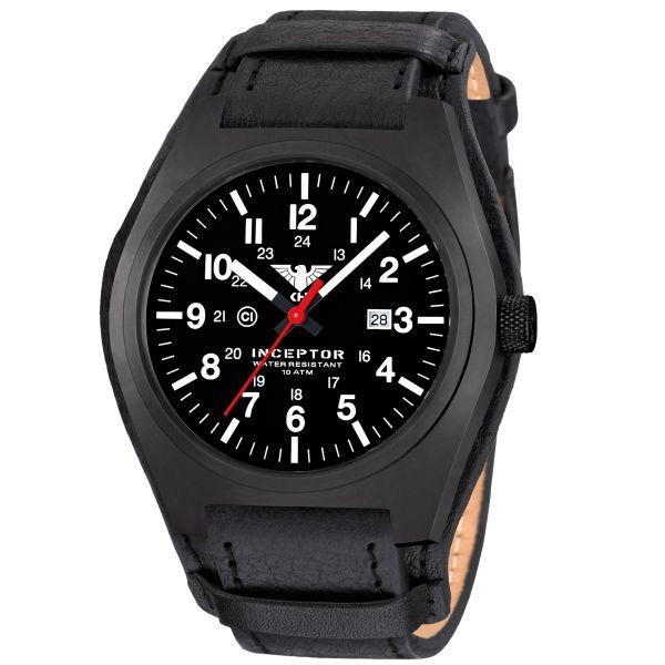 Orologio tattico Inceptor Black Steel KHS pelle nera G-Pad