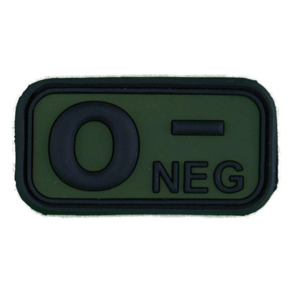 Patch 3D gruppo sanguigno 0 negativo nero-verde oliva