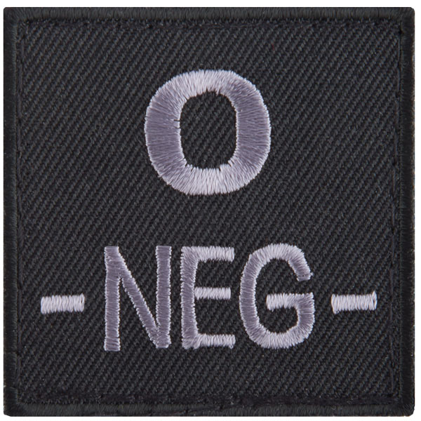 Patch gruppo sanguigno 0 negativo in tessuto T.O.E nero