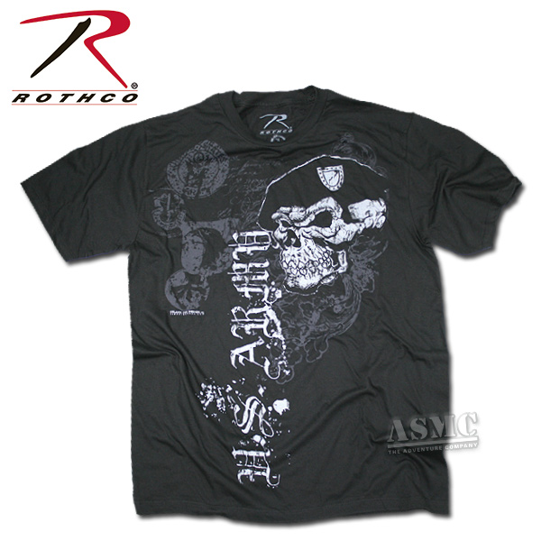 T-Shirt in cotone Black Ink Skull with Beret marca Rothco