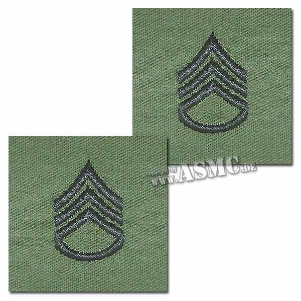 Distintivo di rango in tessuto Sergente US, verde