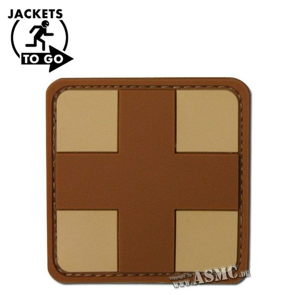 3D-Patch Croce Rossa medica marrone-desert