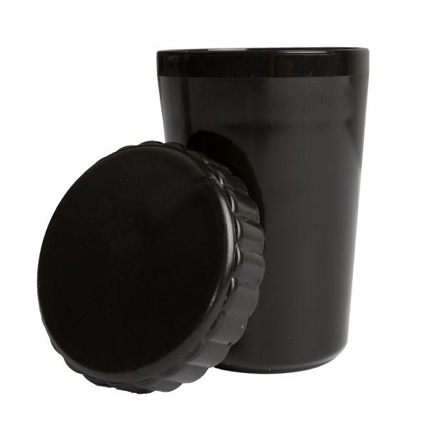 Bicchiere in plastica con coperchio colore nero