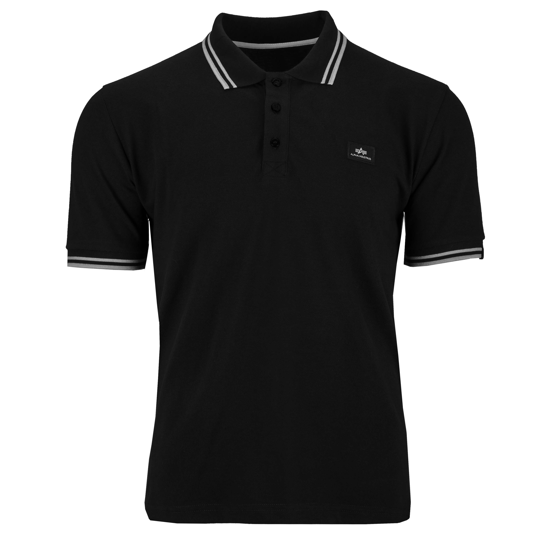 T-Shirt a polo Twin Stripe II marca Alpha Industries nero/bianco
