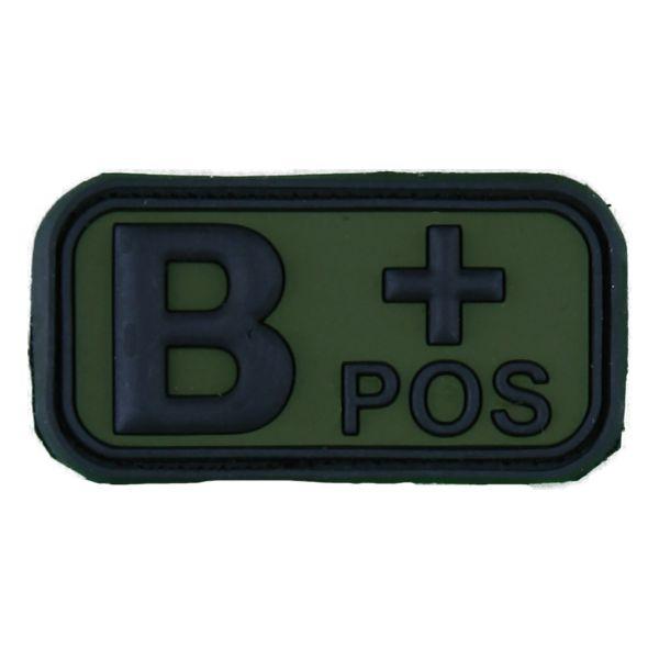 Patch 3D Gruppo sanguigno B Pos nero-verde oliva