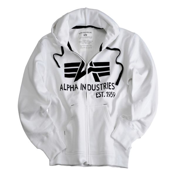 Felpa con cappuccio Big A Classic Zip Alpha industries bianca