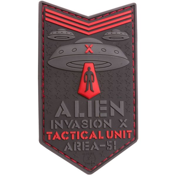 Patch 3D Alien Invasion X File Tactical Unit marca JTG rosso