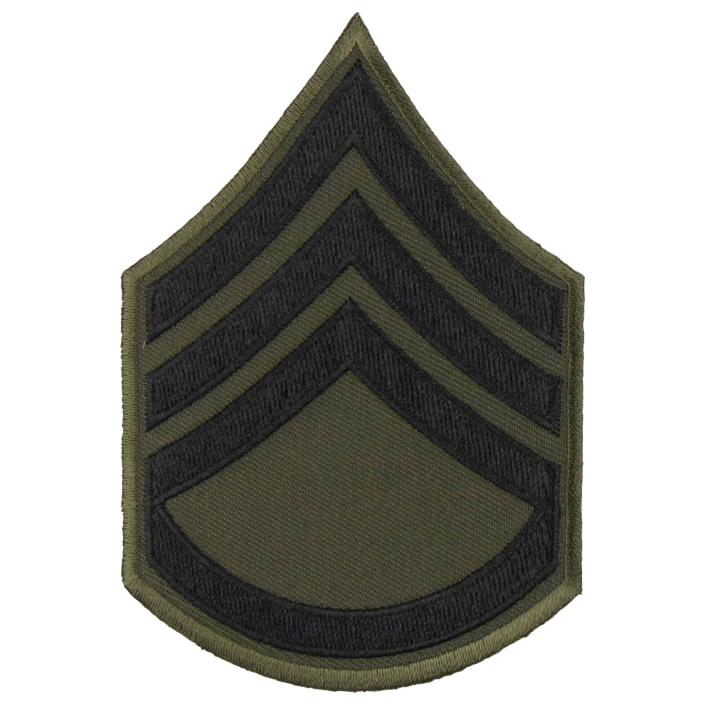 Distintivo di rango in tessuto Sergente US, nero