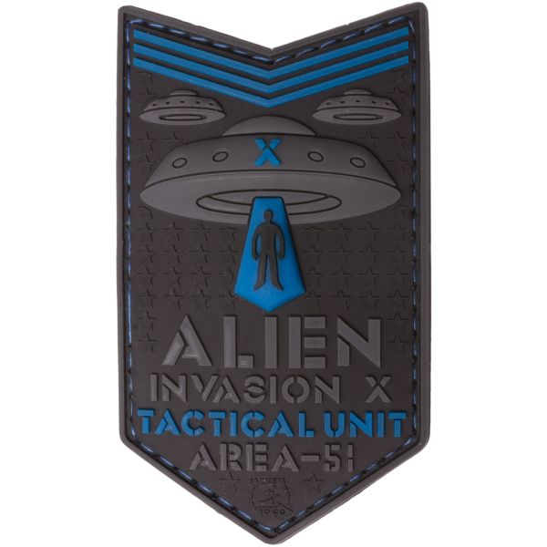 Patch 3D Alien Invasion X File Tactical Unit marca JTG blu