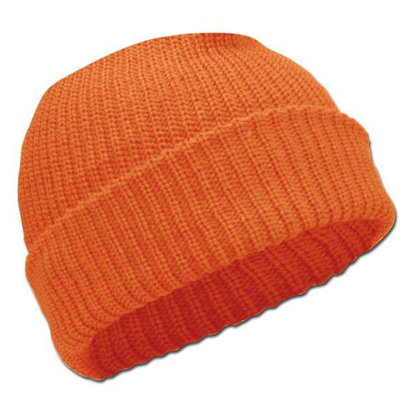 Berretto lavorazione a costine colore arancio