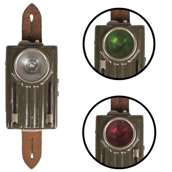 Lampada tascabile polacca 3 luci fibbia in pelle oliva usata