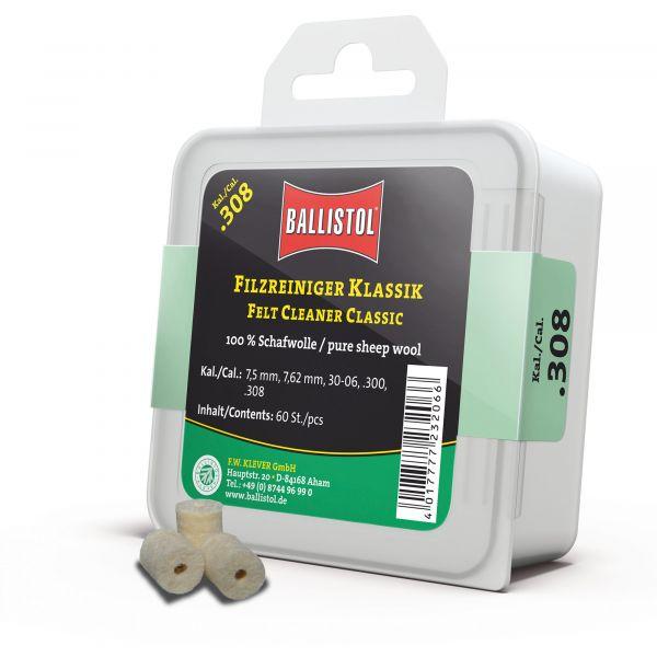 Tappi in feltro pulizia Ballistol linea classica Cal.308 60 p.zi