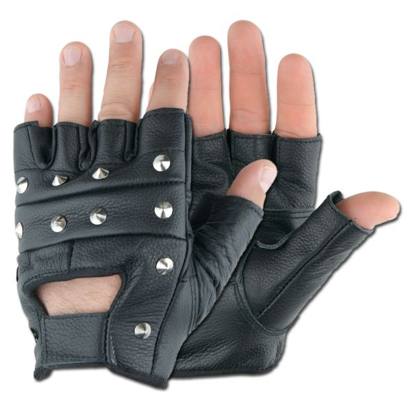 Guanti tattici, mezze dita, con borchie coniche, colore nero