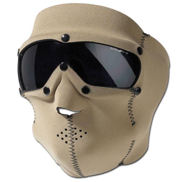 Maschera di protezione viso Pro Swiss Eye in neoprene coyote
