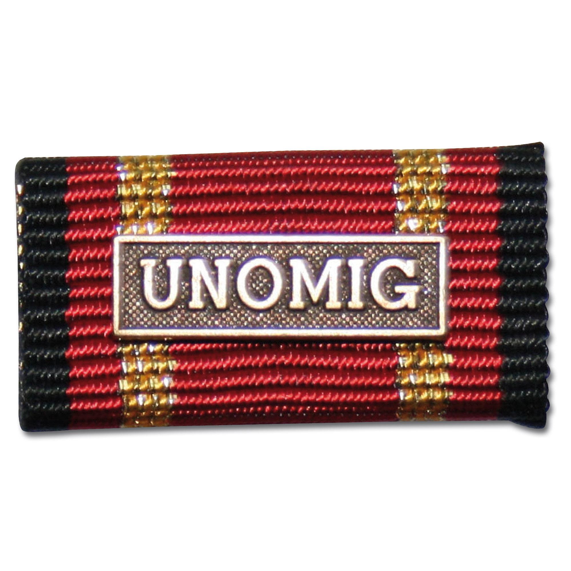 Label Pin Auslandseinsatz UNOMIG bronze