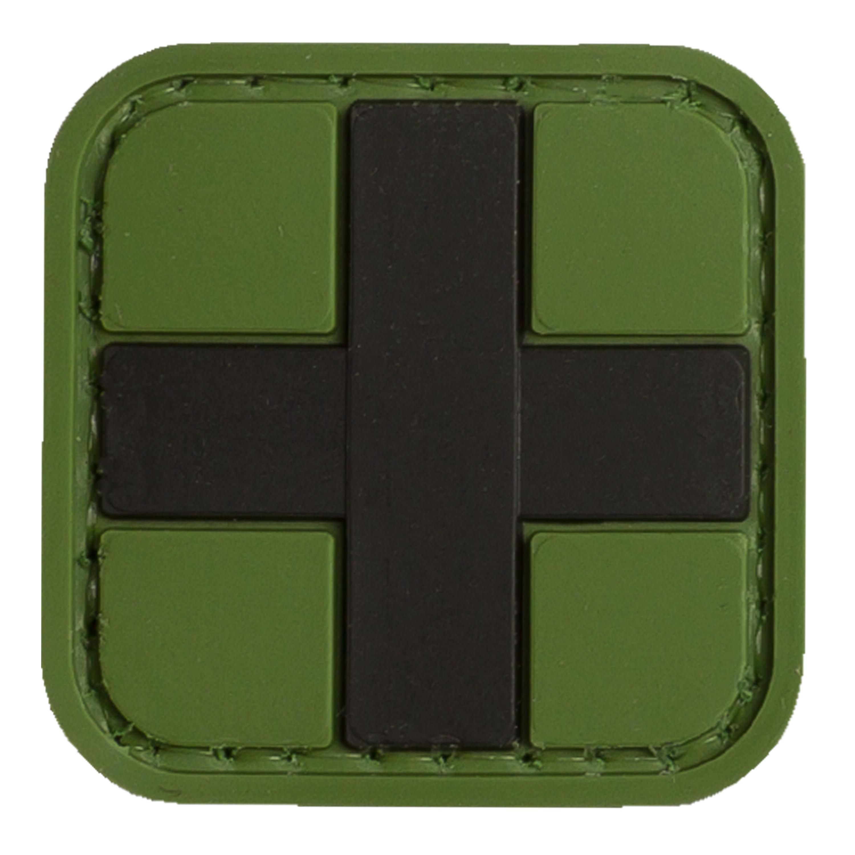 Patch 3D Tap Medic croce nera sfondo verde 25 mm