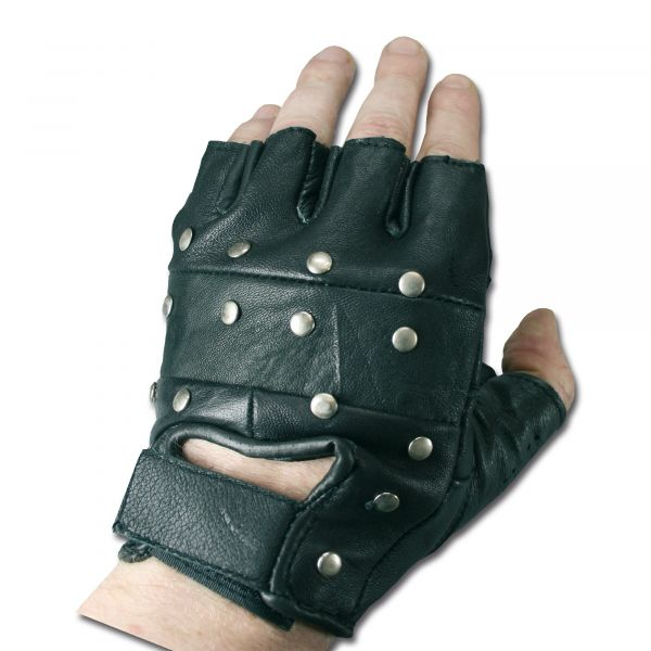 Guanti tattici, mezze dita, con borchie, colore nero