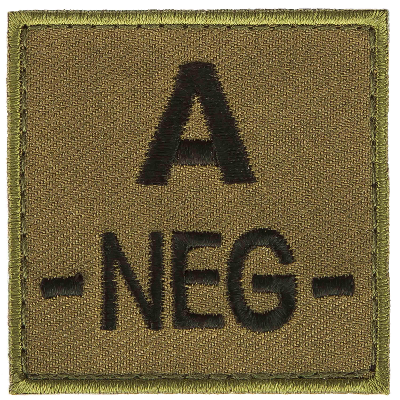 Patch gruppo sanguigno A negativo in tessuto T.O.E. verde