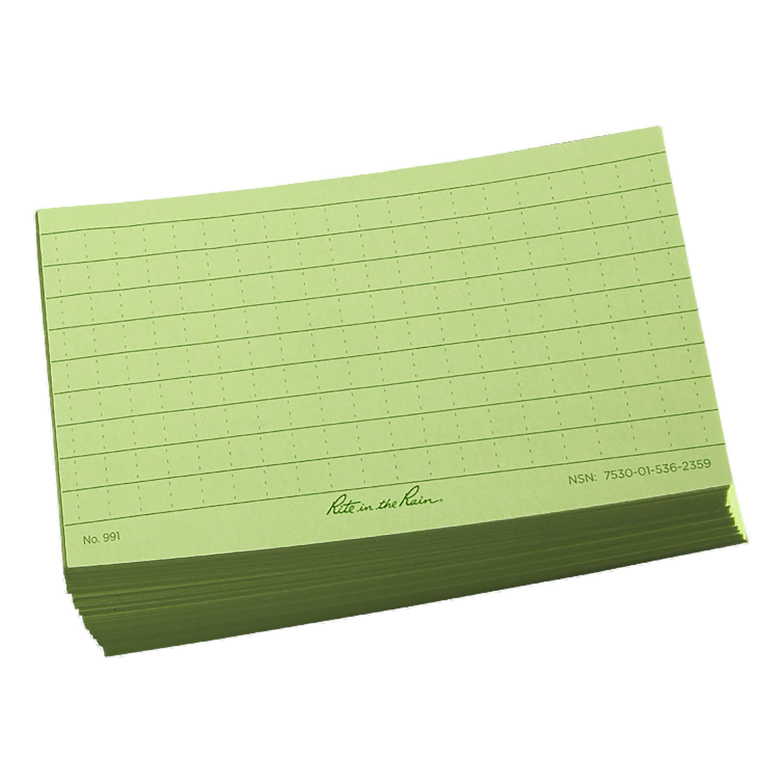 Fogli per scrittura Rite in the Rain Index Card 3 x 5 verde oliv