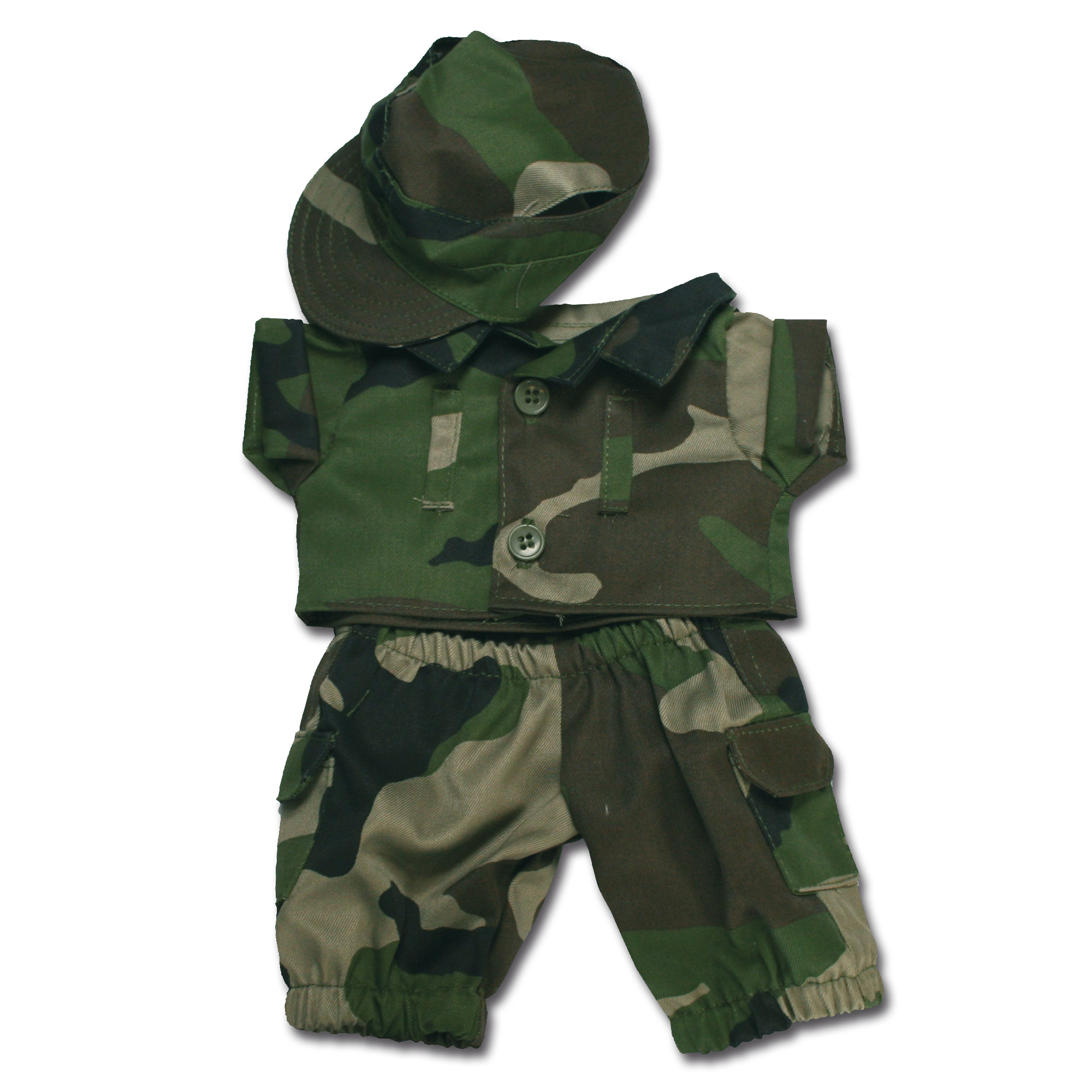 Completino militare mimetico, CCE, peluche Teddy, piccolo