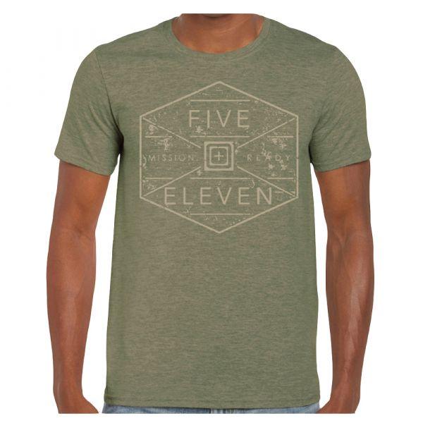 T-Shirt Hex Grid marca 5.11 verde militare