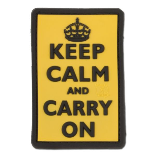 3D-Patch Keep Calm and Carry su giallo