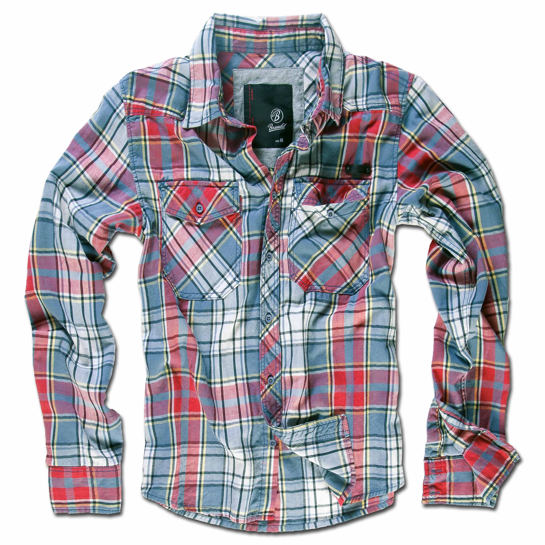 Brandit Checkshirt Camicia in Flanella Grigio//Nero//Bianco