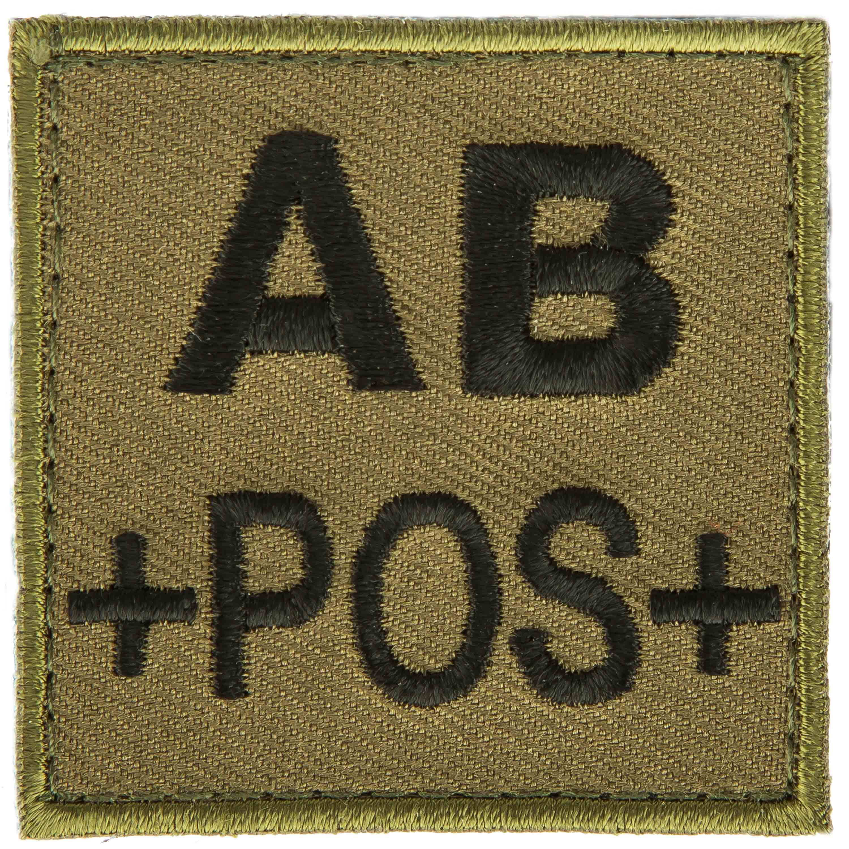 Patch gruppo sanguigno AB positivo in tessuto T.O.E verde